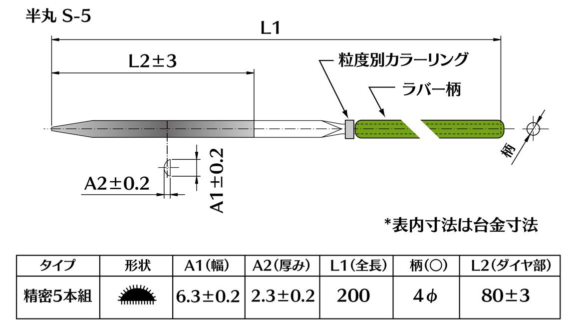 画像2: ダイヤモンドヤスリ S-5半丸  #80 (5本セット)