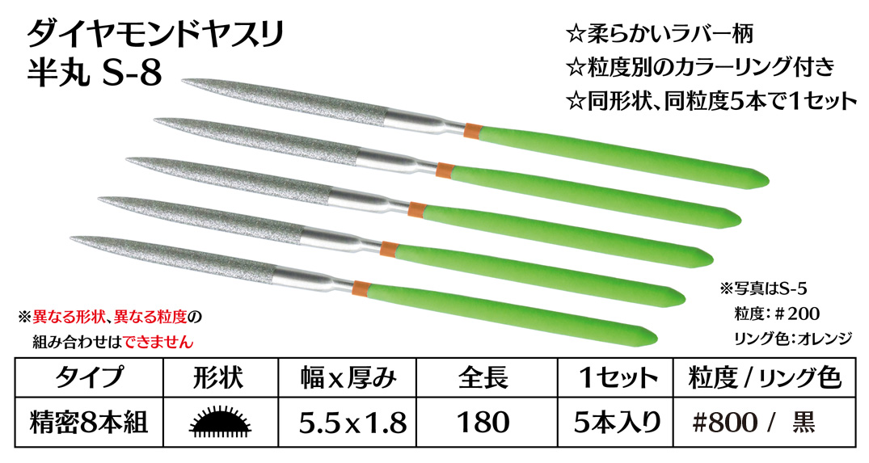画像1: ダイヤモンドヤスリ S-8半丸  #800 (5本セット)
