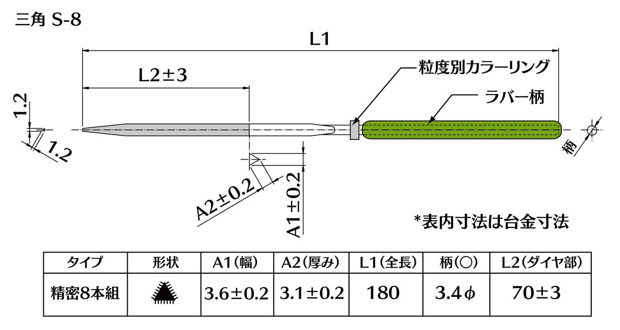 画像2: ダイヤモンドヤスリ S-8三角  #120 (5本セット)