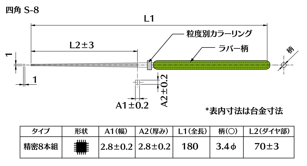 画像2: ダイヤモンドヤスリ S-8四角  #400 (5本セット)