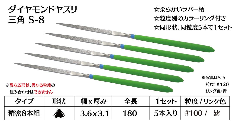 画像1: ダイヤモンドヤスリ S-8三角  #100 (5本セット)