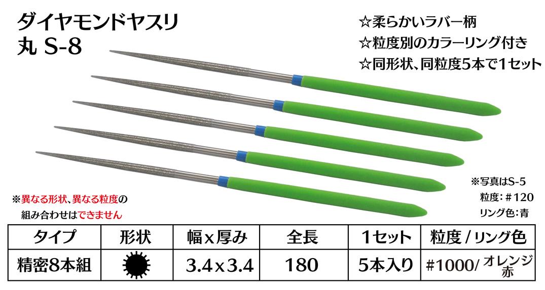 画像1: ダイヤモンドヤスリ S-8丸  #1000 (5本セット)