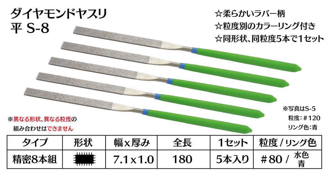 画像1: ダイヤモンドヤスリ S-8平  #80 (5本セット)