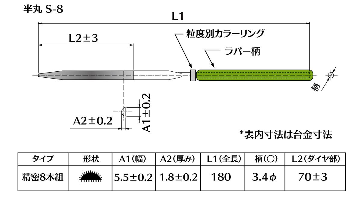 画像2: ダイヤモンドヤスリ S-8半丸  #140 (5本セット)