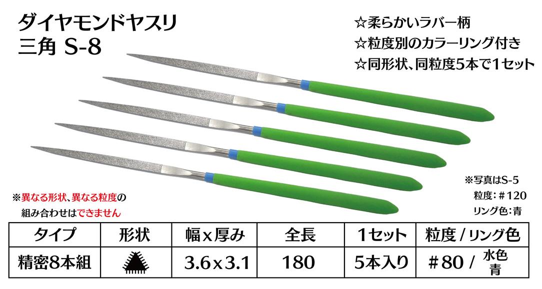 画像1: ダイヤモンドヤスリ S-8三角  #80 (5本セット)