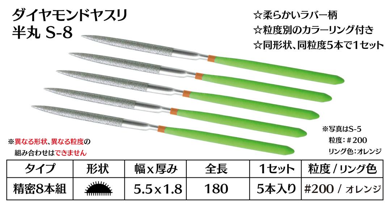 画像1: ダイヤモンドヤスリ S-8半丸  #200 (5本セット)