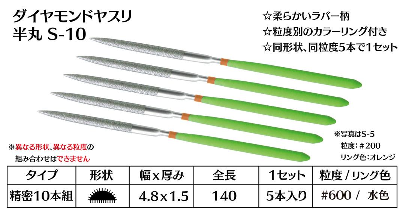 画像1: ダイヤモンドヤスリ S-10半丸  #600 (5本セット)
