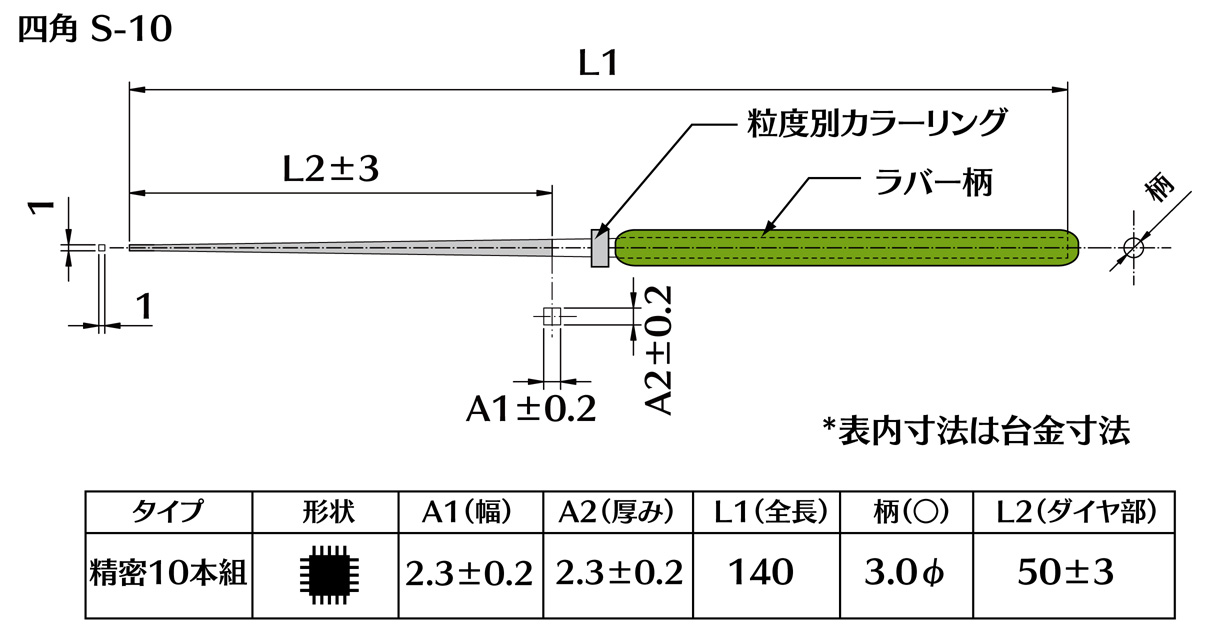 画像2: ダイヤモンドヤスリ S-10四角  #400 (5本セット)