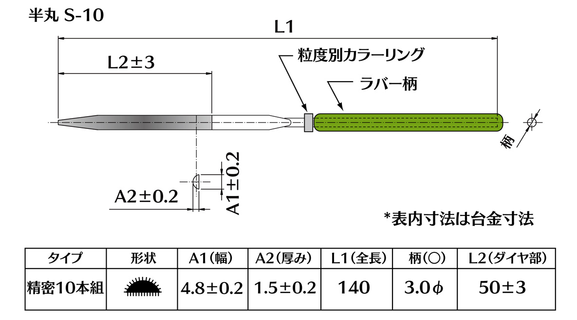 画像2: ダイヤモンドヤスリ S-10半丸  #200 (単品)