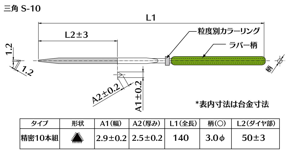 画像2: ダイヤモンドヤスリ S-10三角  #140 (5本セット)