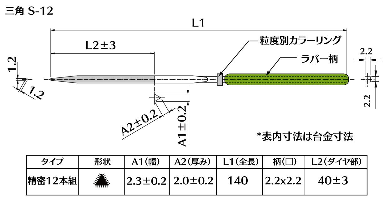 画像2: ダイヤモンドヤスリ S-12三角  #230 (5本セット)