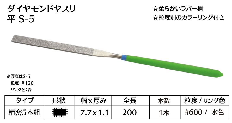 画像1: ダイヤモンドヤスリ S-5平  #600 (単品)