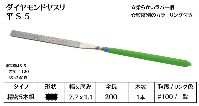 画像1: ダイヤモンドヤスリ S-5平  #100 (単品)