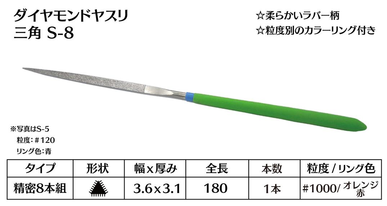 画像1: ダイヤモンドヤスリ S-8三角  #1000 (単品)