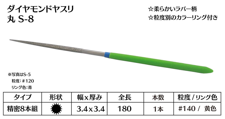画像1: ダイヤモンドヤスリ S-8丸  #140 (単品)