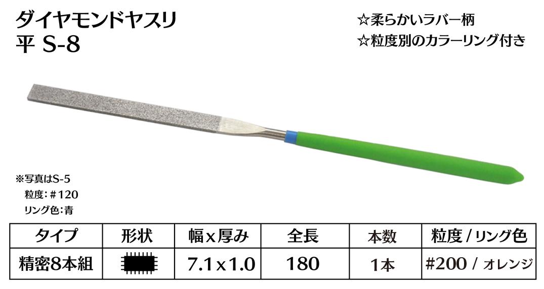 画像1: ダイヤモンドヤスリ S-8平  #200 (単品)