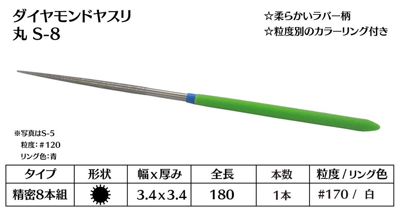 画像1: ダイヤモンドヤスリ S-8丸  #170 (単品)