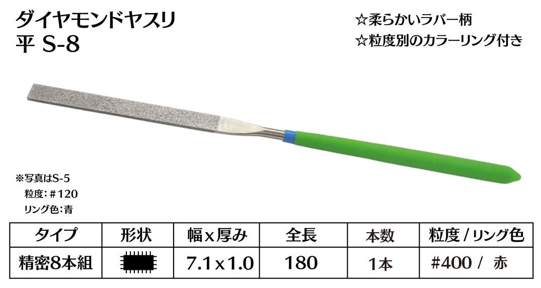画像1: ダイヤモンドヤスリ S-8平  #400 (単品)