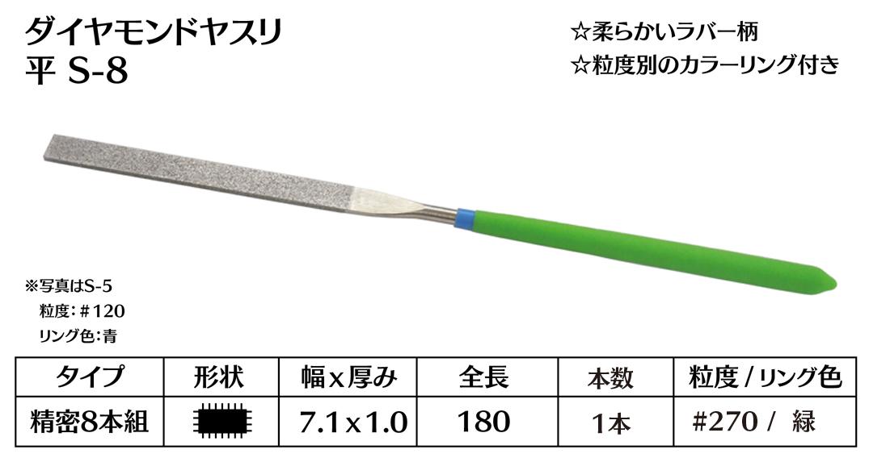 画像1: ダイヤモンドヤスリ S-8平  #270 (単品)