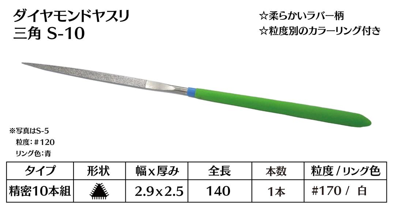 画像1: ダイヤモンドヤスリ S-10三角  #170 (単品)