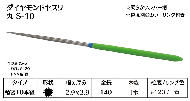 画像1: ダイヤモンドヤスリ S-10丸  #120 (単品)