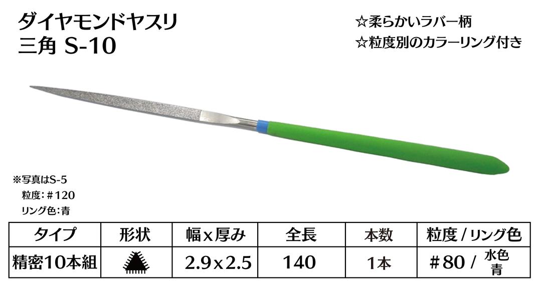 画像1: ダイヤモンドヤスリ S-10三角  #80 (単品)