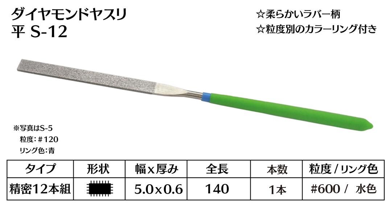 画像1: ダイヤモンドヤスリ S-12平  #600 (単品)