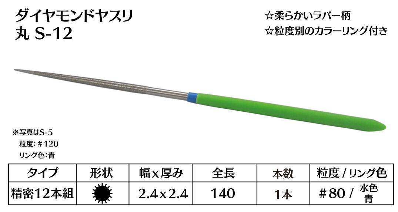 画像1: ダイヤモンドヤスリ S-12丸  #80 (単品)