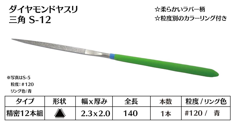 画像1: ダイヤモンドヤスリ S-12三角  #120 (単品)