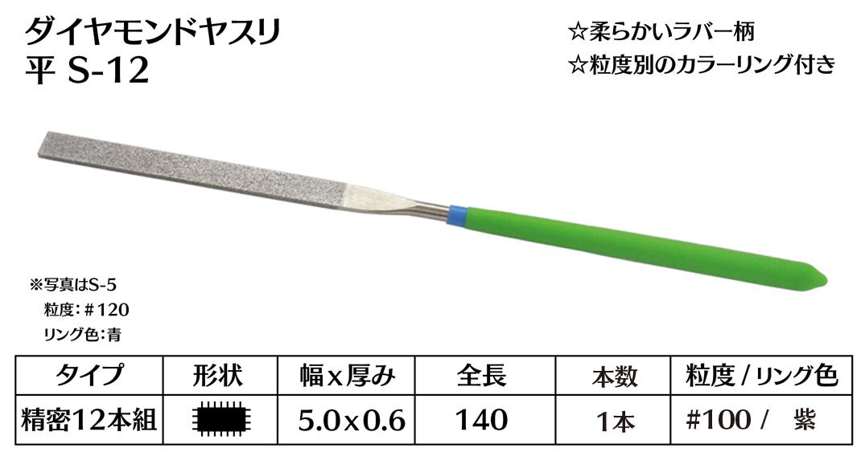 画像1: ダイヤモンドヤスリ S-12平  #100 (単品)