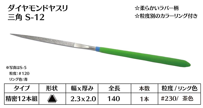 画像1: ダイヤモンドヤスリ S-12三角  #230 (単品)