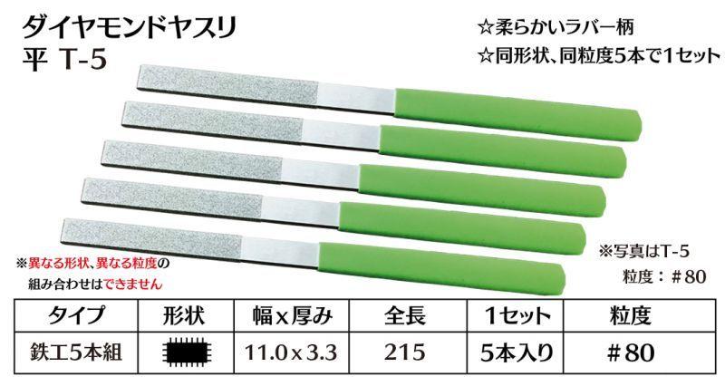 画像1: ダイヤモンドヤスリ T-5平  #80 (5本セット)